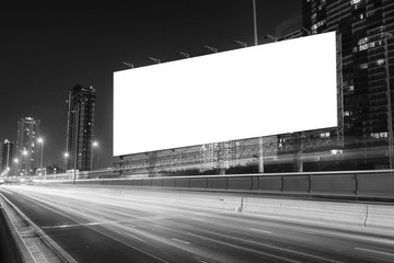 black and white tone of billboard at street