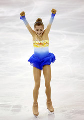 Russia's Elena Radionova reacts during the Ice Ladies free skating at the ISU Grand Prix of Figure Skating final in Barcelona