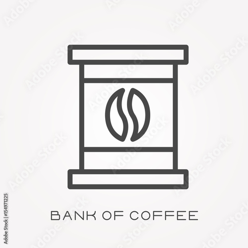 Line Icon Bank Of Coffee Stock Image And Royalty Free Vector Files