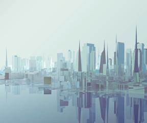 glass low poly city