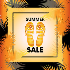 """Ready-made design """"Sale"""" with palm branches and flip flops. Vector illustration for shops. Business and shopping. Summer."""