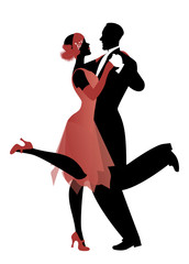 Fototapete - Elegant couple wearing 20's style clothes dancing charleston. Vector Illustration