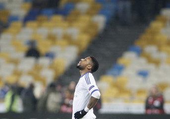 Dynamo Kiev's Lens reacts after scoring a goal against Rapid Vienna during their Europa League soccer match in Kiev
