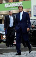 U.S. Secretary of State Kerry walks in Tbilisi