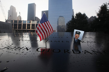 A picture of New York City firefighter James Crawford is seen at the 9/11 Memorial ceremonies marking the 12th anniversary of the 9/11 attacks on the World Trade Center in New York