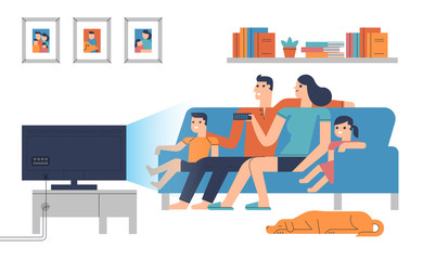 Flat design characters of family in living room