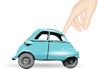 toy car and human hand