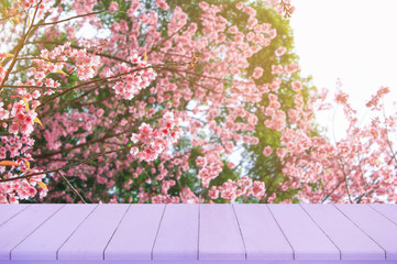 Empty wooden table with Sakura flower and sunlight background, use for product display.