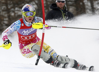 Vonn of the U.S. clears a gate to win the Slalom run of the  women's Alpine Skiing World Cup super combined event in Val d'Isere
