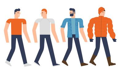 Flat design people characters set