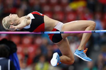 Zublin of Switzerland competes in the high jump event of women's heptathlon during the European Athletics Championships at the Letzigrund Stadium in Zurich