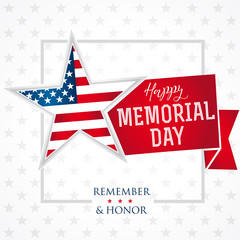 Memorial day remember & honor star light banner. Happy Memorial Day vector background template with star in national flag colors