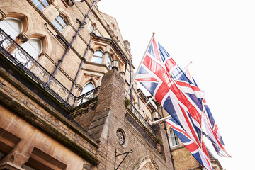OXFORD/ UK- OCTOBER 26 2016: Union Jack Flags Outside Randolph Hotel In Oxford
