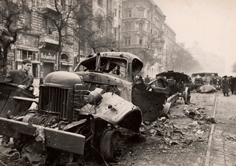 A general view shows the wreckage of armed trucks on the streets of Budapest at the time of the uprising against the Soviet-supported Hungarian communist regime in 1956