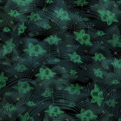 Pattern of elegant aqua palm leaves on black