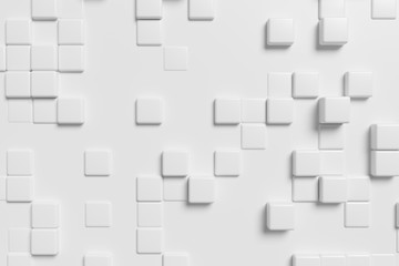 Abstract white cubes, 3d background.