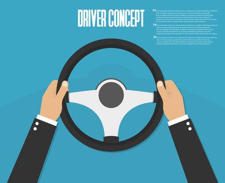 Hands holding steering wheel. Vector illustration. Driver
