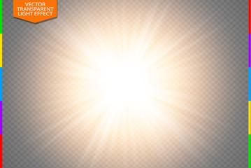 Golden glowing light burst explosion on transparent background. Vector illustration light effect decoration with ray. Bright star. Translucent shine sun, bright flare. Center vibrant flash