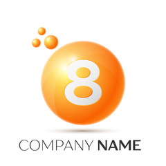 Number eight splash logo. Orange dots and bubbles number design on grey background. Vector Illustration