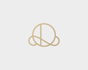 Elegant line curve vector logotype. Premium letter O logo design. Luxury linear creative monogram.