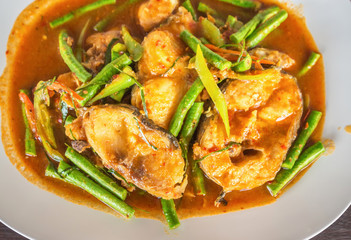 Spicy catfish Stir fry ; Thailand tradition food