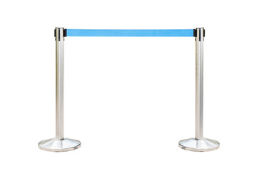 Stainless barricade with bule rope isolate on white background