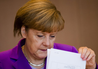 German Chancellor Merkel attends cabinet meeting at Chancellery in Berlin