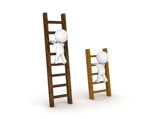 Two 3D Characters climbing on different types of ladders