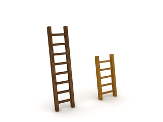 3D illustration of a tall and short ladder