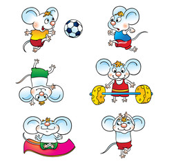 Set of cartoon mouse . Mouse playing soccer, running, standing on his head, yoga, raises the bar.