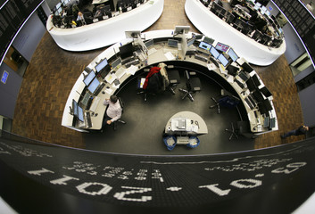 The DAX curve is seen during the first trading day at the Frankfurt stock exchange