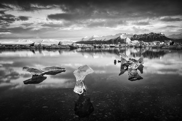 Iceland, Jokulsarlon lagoon, Beautiful cold landscape picture of icelandic glacier lagoon bay