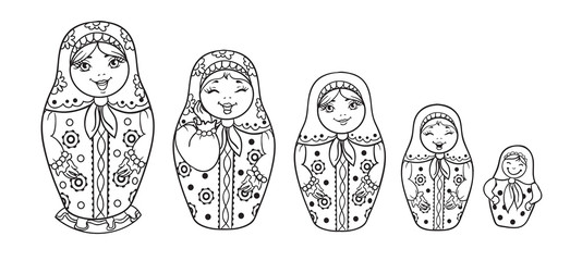 Russian Dolls Matrioshka Outlined for coloring book. Five Russian nested doll, Babushka doll, Russian Souvenir, present.