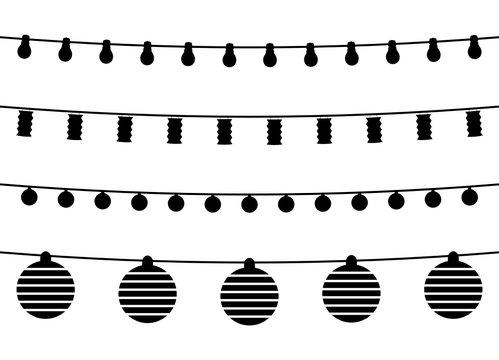 Silhouetten Lichterketten
