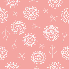 modern abstract floral pattern negative pink