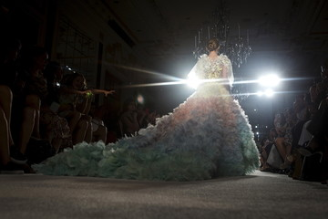 A model presents a creation from the Marchesa Spring/Summer 2016 collection during New York Fashion Week