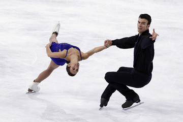 Duhamel and Radford of Canada perform during the pairs free skating programme in the Bompard Trophy event at Bercy