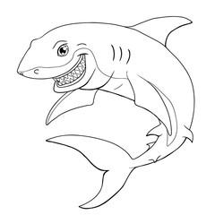 Smiling shark a black contour on white