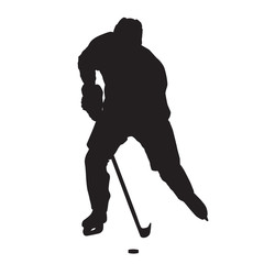 Skating ice hockey player vector silhouette, front view