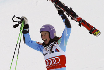 Maze of Slovenia celebrates winning the season's last women's Giant Slalom race at the Alpine Skiing World Cup finals in Lenzerheide