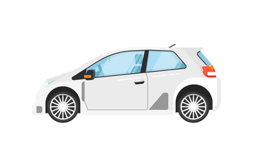 Modern universal car isolated vector illustration on white background. Comfortable family hatchback, auto vehicle, people city transport in flat design