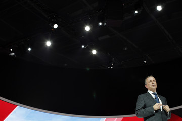 Nissan Europe chairman Paul Willcox speaks during a news conference on media day at the Paris Mondial de l'Automobile