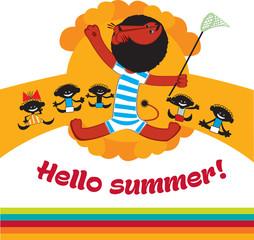 Cute lion cartoon Hello summer