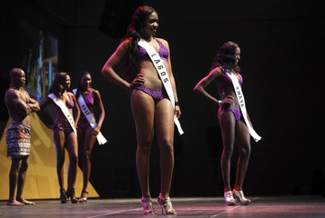 Contestants pose on the stage during the 24th edition of the Most Beautiful Girl in Nigeria (MGBN) beauty pageant in Lagos