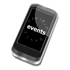 Text Events. Holiday concept . Smartphone with business web icon set on screen . Isolated on white