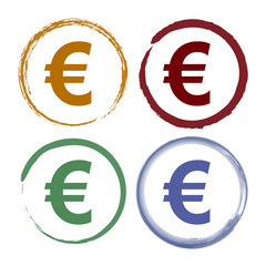 Pinselstrich Icon Set - Euro