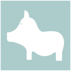 Pig the white color icon .