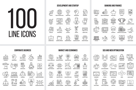 Vector set of thin line icons