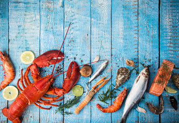 Acrylic Prints Seafoods Fresh tasty seafood served on old wooden table.