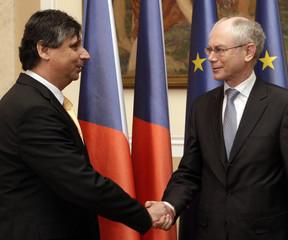 Czech PM Fischer welcomes EU President Van Rompuy in Prague